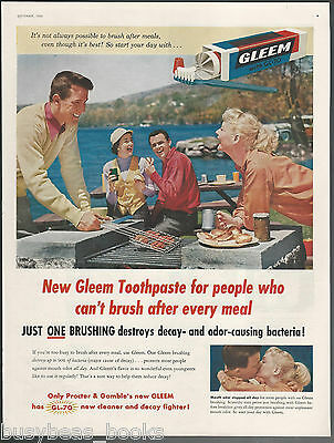 1955 GLEEM toothpaste advertisement, barbeque picnic, P&G, large size advert