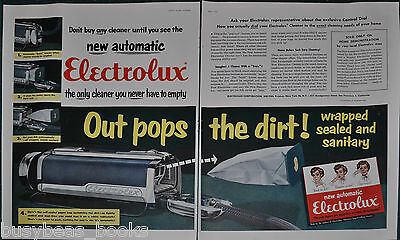 1954 ELECTROLUX Vacuum 2-page advertisement, new automatic emptier large size ad