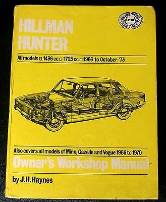 HILLMAN HUNTER MINX early Haynes Workshop Manual 1966-73, Minx Gazelle Vogue