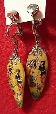 Fashion Jewelry-Vintage Bamboo Painted Earrings-Screwback