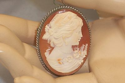 Vintage Lovely Carved Shell Cameo Brooch Pendant 800 Silver