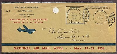 Usa Airmail Official Envelope 1938  (Sp3
