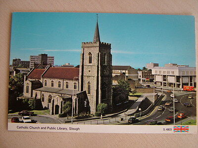 Postcard - CATHOLIC CHURCH AND PUBLIC LIBRARY, SLOUGH. Unused. Standard size.