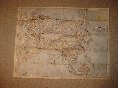 Huge Superb Antique 1951 Asia Map China Formosa Taiwan Arabia India Japan Rare