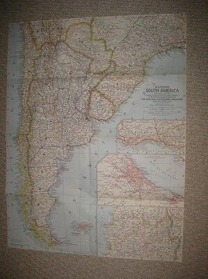 Antique 1958 Southern South America Map Falkland Islands Patagonia Buenos Aires