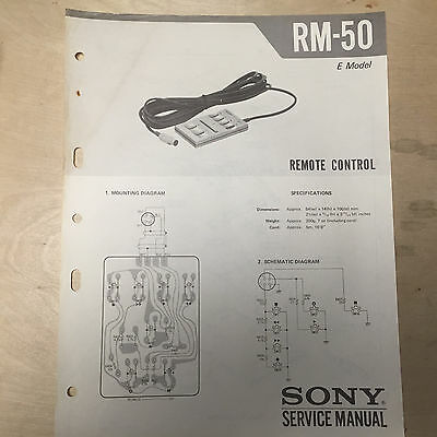 Sony Service Manual for the RM-50 Remote Control ~ Repair