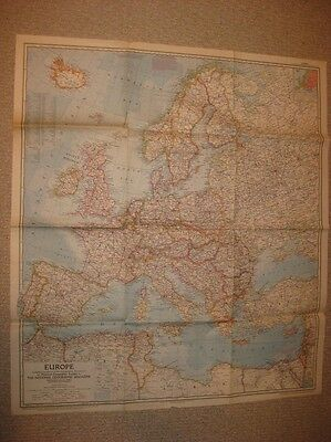 Huge Gorgeous Antique 1957 Europe Map France Italy Germany England Russia Rare