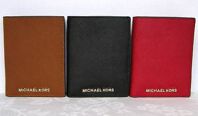 Michael Kors Jet Set Travel Leather Passport Wallet Case BLACK NWT