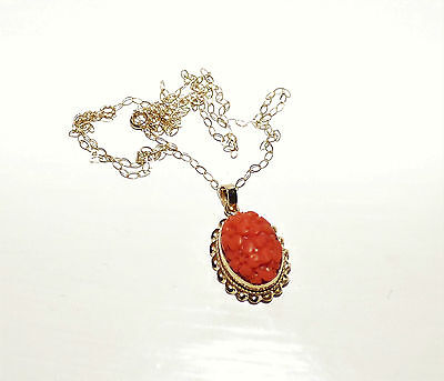 Antique Edwardian Carved Coral Pendant 9Ct Gold Natural Salmon Coral Flower Drop