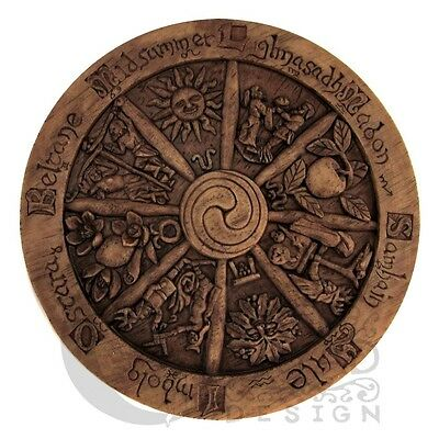 Wheel of the Year Wall Plaque Wiccan Pagan Dryad Design Wood finish Sabbat craft