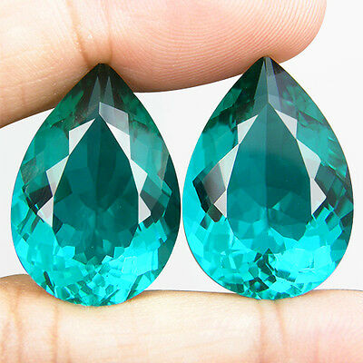 38.38 CT. MATCHING PAIR PEAR GREEN BLUE PARAIBA NANO APATITE 23.5 x 16.3 MM