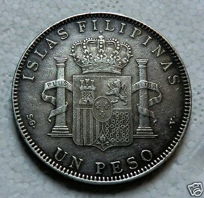 Spain Philippines Peso, 1897, Manila, Alfonso XIII, circulated, silver coin