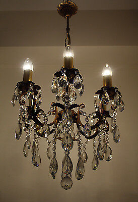 Antique 6 Arms Brass & Crystals Chandelier from 1950's