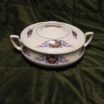 Victoria China, Czechoslovakia Covered Serving Dish, Scrolls With Pink Roses #2
