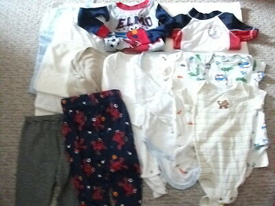 Lot Of 14 Boys Clothing Pants T Shirts Pajamas Onesies Blankets Size 6-12 months