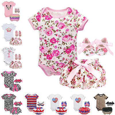 4PCS Infant Baby Girl Floral Romper Pants Shoes Set Outfit Bloomer Clothes 0-18M