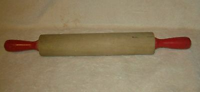 "VIntage Wood 16"" Rolling Pin ~ Red Handles"