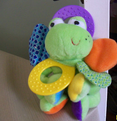 infantino baby frog plush rattle activity toy mirror teething ring crinkle