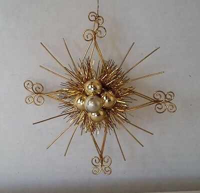 Vintage Gold Tinsel Wire Starburst Christmas Ornament