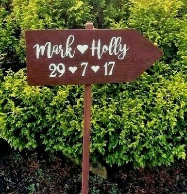 Large Rustic Wedding This Way Personalised Sign Venue Decoration