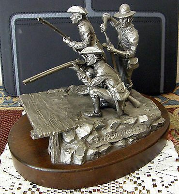 1973 Pewter Rendering Of 1775 Battle At  Concord Bridge By Koivski W Minute Men