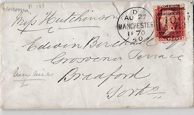 Gb Penny Red Plate 183 On Manchester To Bradford Yorks Cover 1870