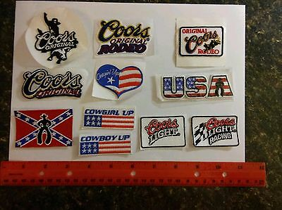 22 assorted hat patches-rodeo-Coors-Cowboy Up-Cowgirl Up-USA-Racing-Light-NEW