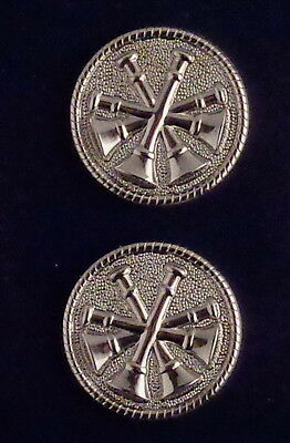 """Fire Deputy/Assistant Chief 4 Bugles polished SILVER Discs Collar/Lapel Pins 1"""""""
