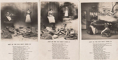 Just As The Sun Went Down 3x Antique Songcard Postcard