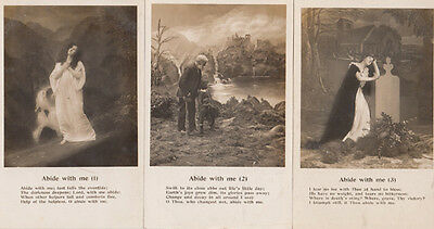 Abide With Me 3x Antique Songcard Postcard