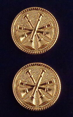 """Fire Deputy/Assistant Chief 4 Bugles polished GOLD Discs Collar/Lapel Pins 1"""""""