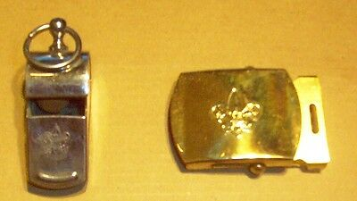 1960's Boy Scout Whistle And Brass Belt Buckle
