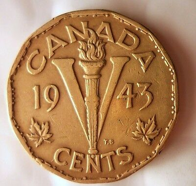 1943 CANADA 5 CENTS - Tombac WW2 Victory Coin - FREE SHIP - Canada Nickel Bin