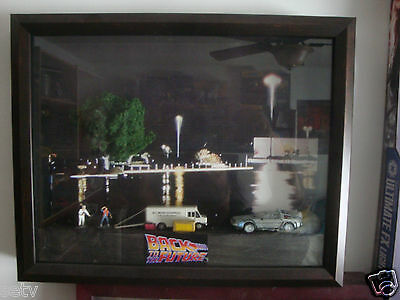 BACK TO THE FUTURE  DIECAST DIARAMA SCENE FRAMED IN shadow  BOX