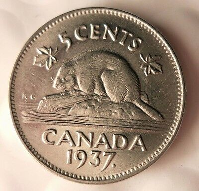 1937 CANADA 5 CENTS - Excellent Coin - FREE SHIPPING - Canada Nickel Bin