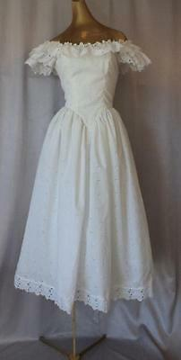 ROMANTIC LACY WHITE COTTON EYELET Vintage Off-the-Shoulder Wedding GOWN DRESS