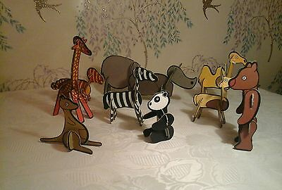 Vintage 3D  card Puzzles of animal  Characters  x 10 1970s  RARE