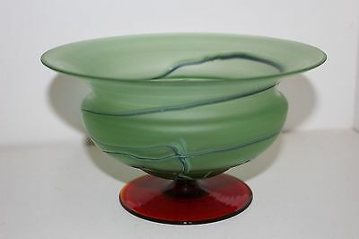 Antique Bohemian/czech Frosted Green Threaded Art Glass Vase/bowl W/red Base