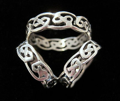 *RARE* Vintage TRIPLE BAND Celtic Knot Open-Work STERLING SILVER SCARF RING