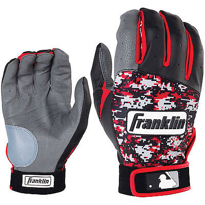 Franklin Digitek Adult Baseball/Softball Batting Gloves - Black/Red - XL