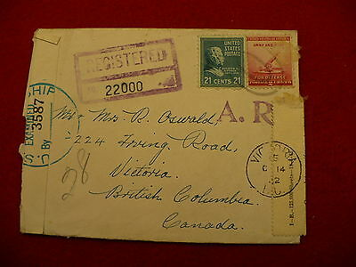 1942 registered mail envelope USA - Canada Army Navy defense stamp P260