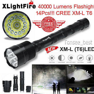 XLightFire 40000LM 13x CREE XML T6 5 Modes Super Bright LED Flashlight 18650