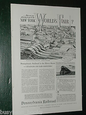 1939 Pennsylvania RR advert, Pennsy, New York Worlds Fair, S1 loco