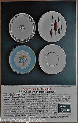 1962 ALLIED CHEMICAL advertisement, for Melamine dinner plates