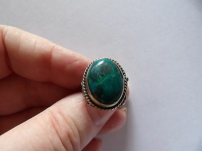 Vintage, Adjuststable Green Agate / Turquoise Silver Tone Alpacca Ring