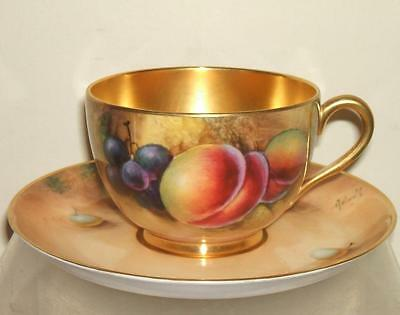Royal Worcester Large Cup & Saucer Fruit Painted - Signed Smith/roberts