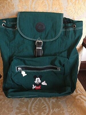 """Disney Embroidered Mickey Mouse Green Backpack 15"""""""