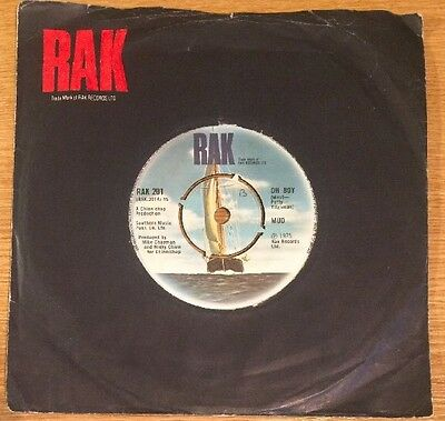 "MUD ""Oh Boy / Watching The Clock"" 7"" UK Vinyl Record 45rpm (RAK 201) 1974 EX/VG"