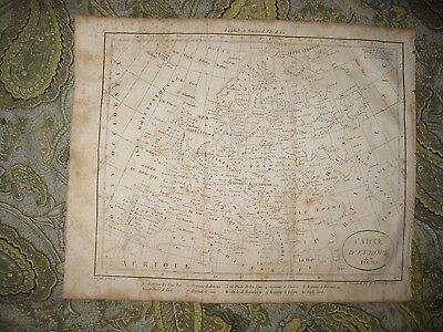 Superb Antique 1830 Europe Map Russia Poland Germany France Italy Detailed Rare