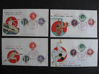 JAPAN 1964 Olympics 4 semipostal sets First Day Covers FDC, check them out!